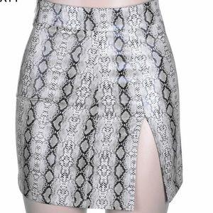 Faux Snake skin split mini skirt